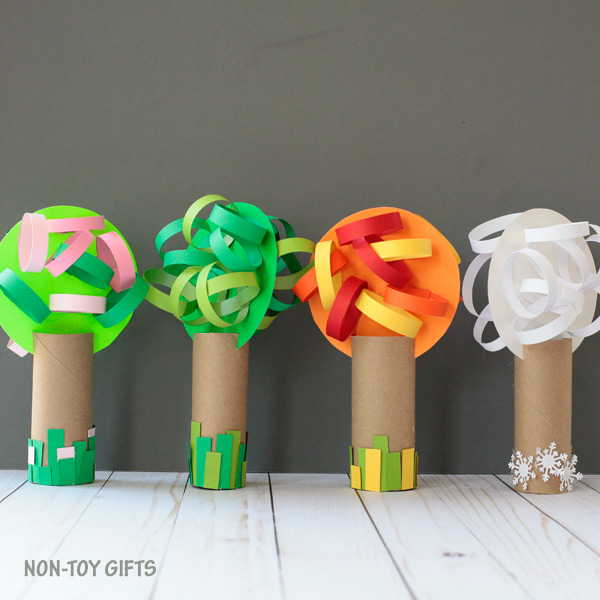 Four season paper roll tree craft for kids to make: spring, summer, fall and winter
