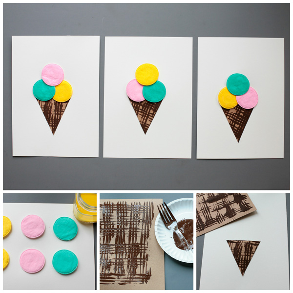 Ice cream craft fro kids with cotton pads and fork painting technique.