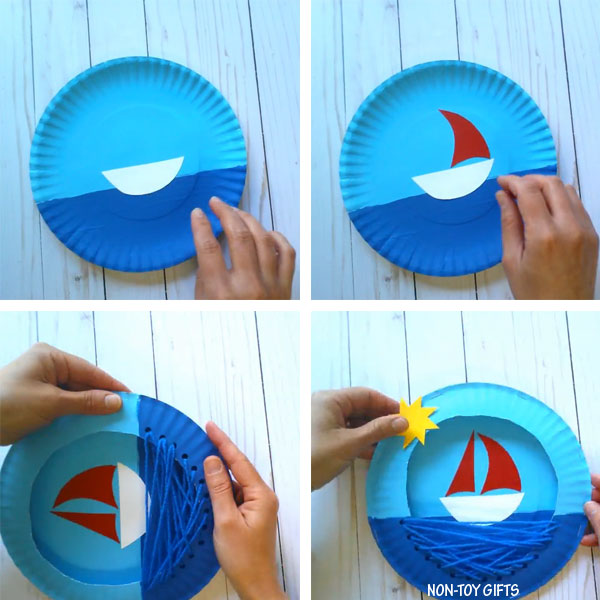 Paper plate boat summer craft