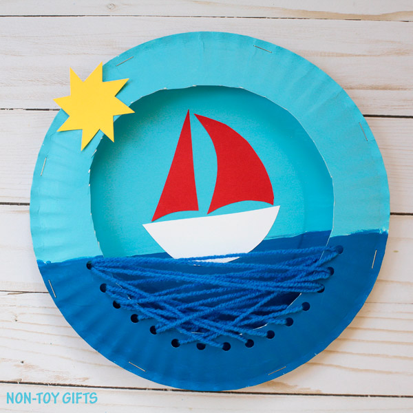 Paper plate boat craft for kids to make this summer