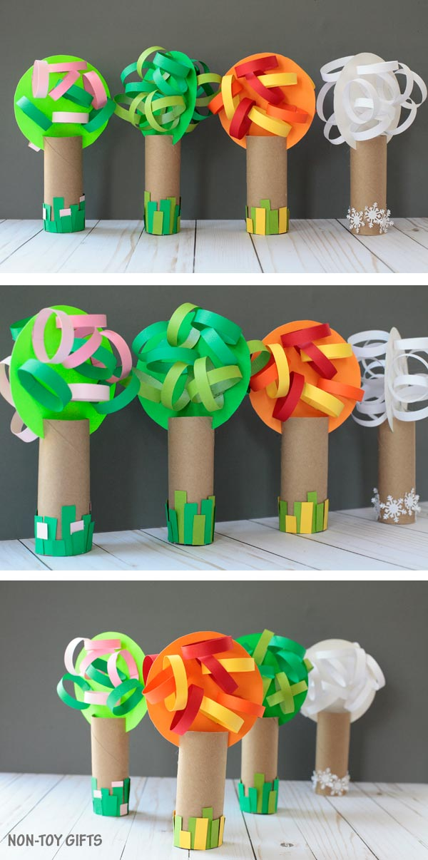 Paper roll four season tree craft for kids to make. Celebrate the changing of seasons: spring, summer, autumn and winter. Perfect for preschoolers and kindergartners. | at Non-Toy Gifts