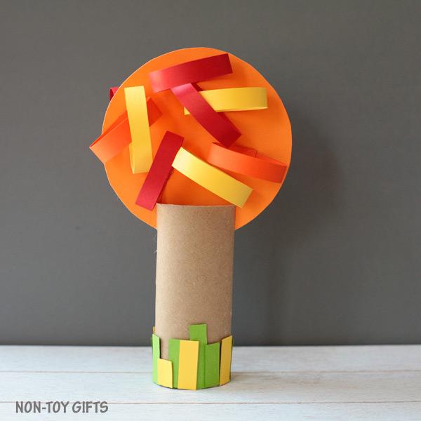 Four season paper roll tree craft autumn
