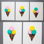 Ice cream craft with cotton pads and fork painted cones