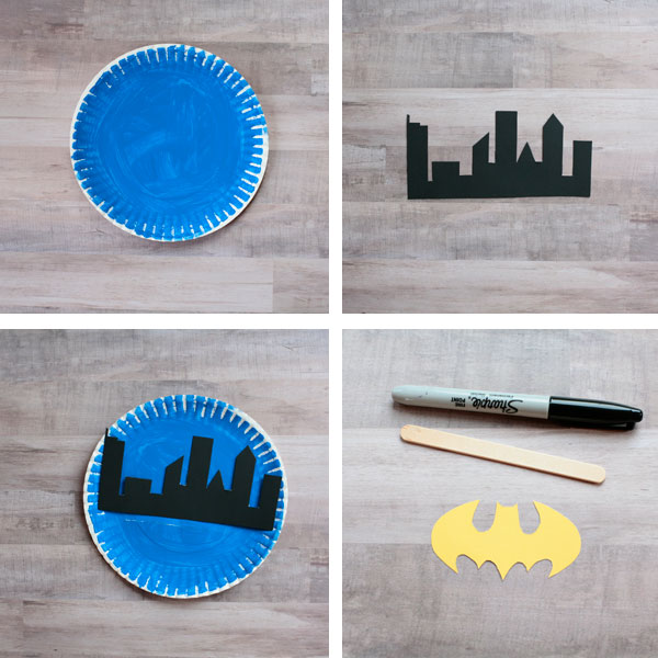 Paper plate Batman collage
