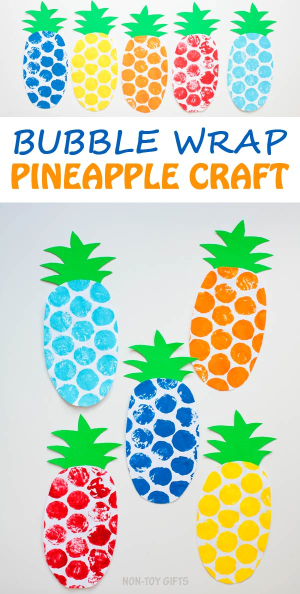 Bubble wrap pineapple craft