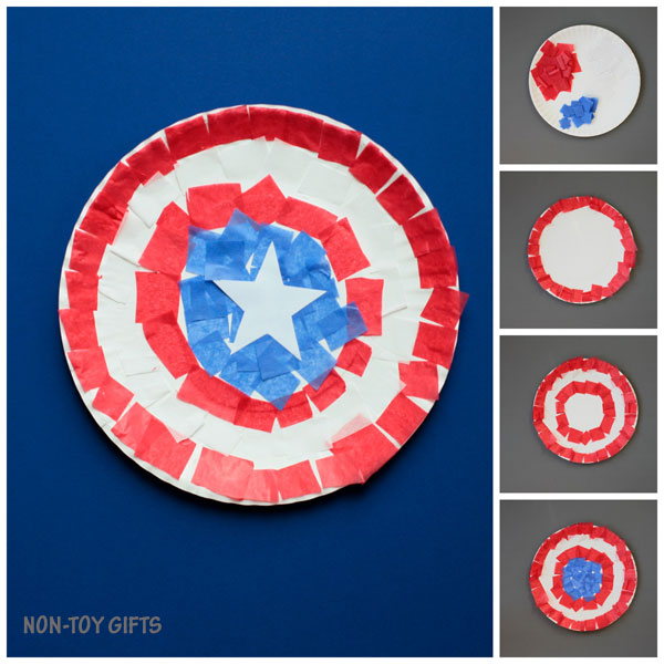 Captain America paper plate craft collage