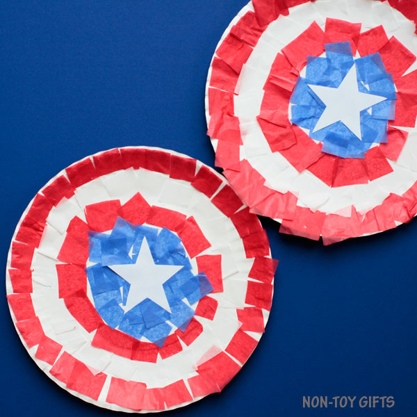 Captain America paper plate shield craft for kids
