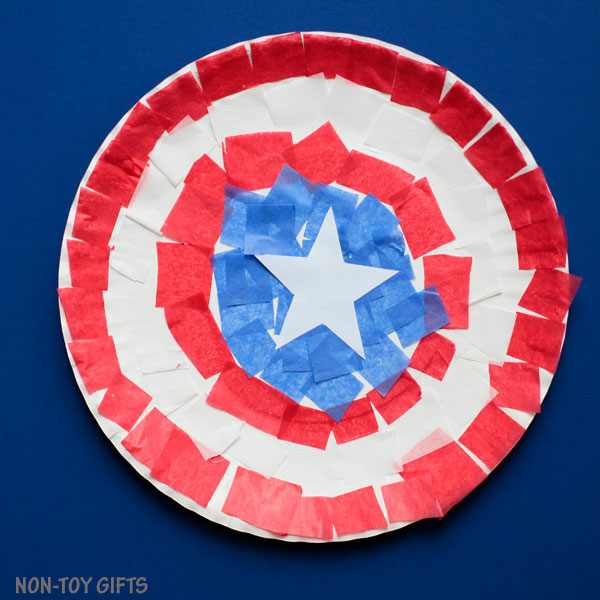 Captain America paper plate shield craft for kids who love superheroes.