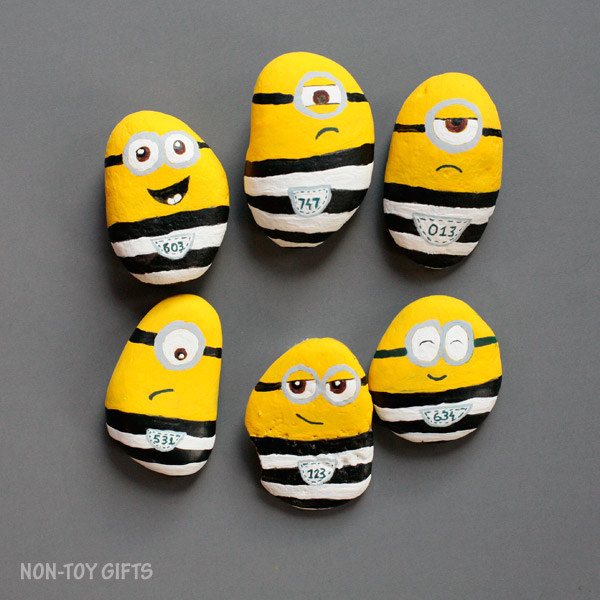 Minions in jail craft for kids. Painted rocks. | at Non-Toy Gifts