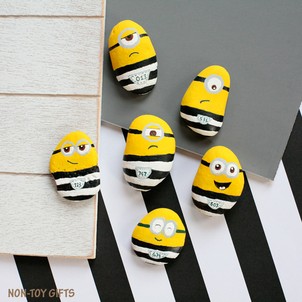 Minions in jail craft. Painted rocks for kids to make and play with. | at Non-Toy Gifts