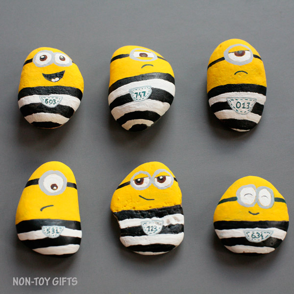 Minions in jail craft. Painted rocks for kids to play with.   at Non-Toy Gifts
