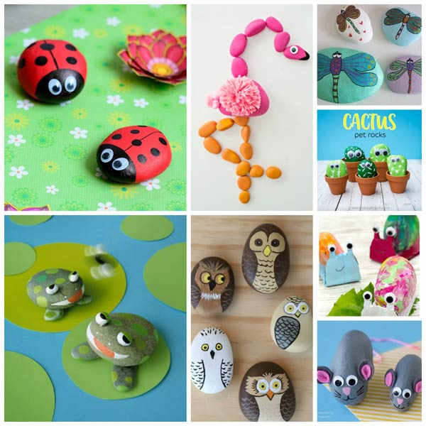 Nature, bugs, birds and animals painting rock ideas