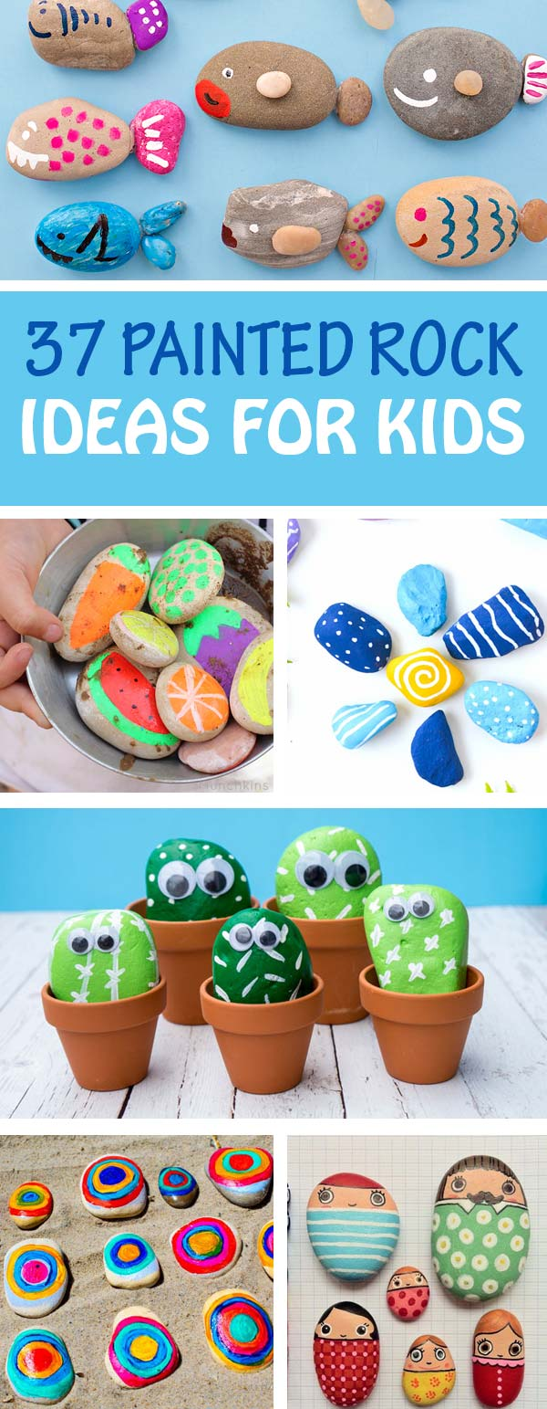 37 painted rocks for kids. Fun stone crafts: play pretend, gifts, art rocks, animal, bird and nature rocks, learning activities, people, fish and pet rocks. | at Non-Toy Gifts