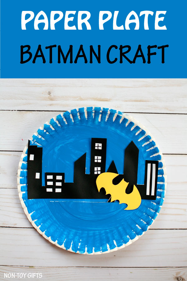 Kids who are into superheroes will love making this paper plate Batman craft that moves to save Gotham City. Fun superhero craft for boys | at Non-Toy Gifts