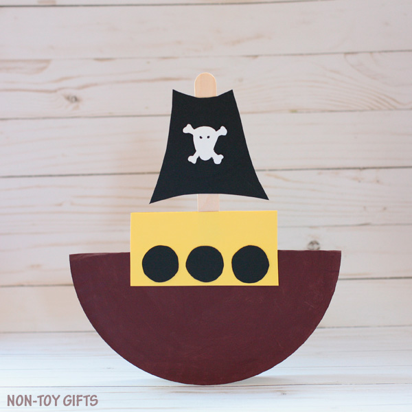 Paper plate pirate boat craft for kids. | at Non-Toy Gifts