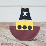 Rocking paper plate pirate boat craft