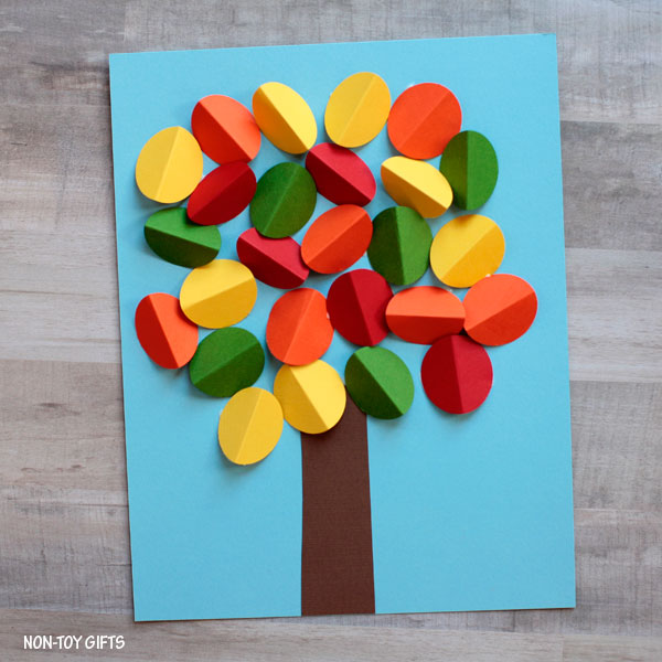 3D paper fall tree craft for kids