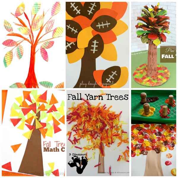 20 fall tree crafts collage