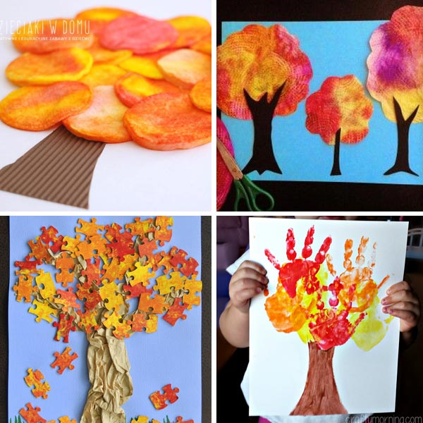 Fall tree crafts for kids to make this autumn