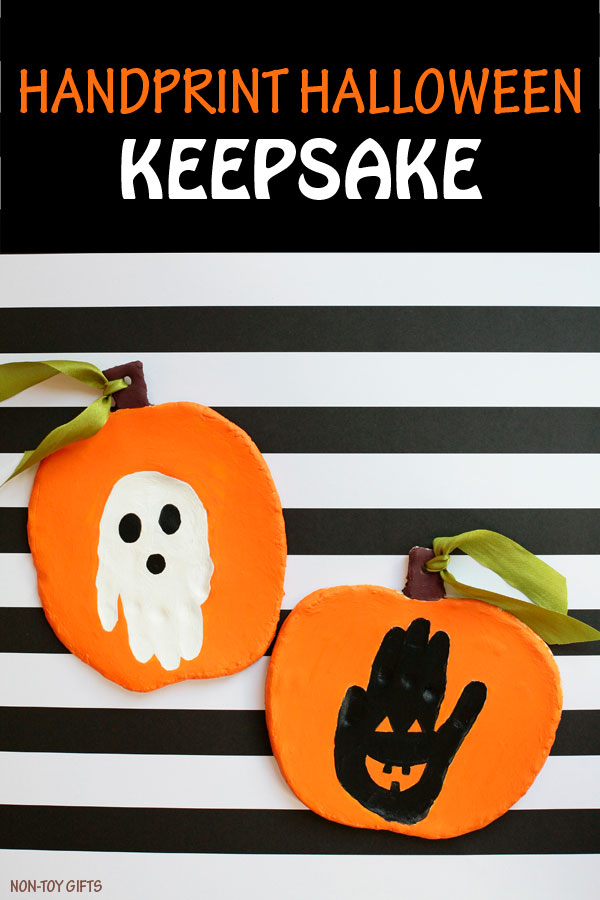 Handprint Halloween keepsake to make with clay. Jack'o'Lantern and ghost crafts for kids. Handprint pumpkin to make this fall. | at Non-Toy Gifts