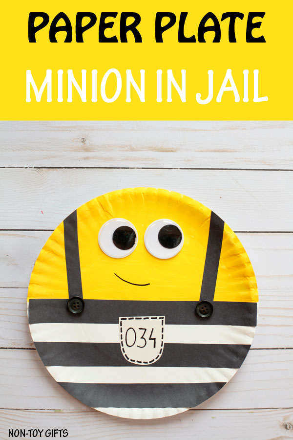 Paper plate Minions in jail craft for kids.| at Non-Toy Gifts