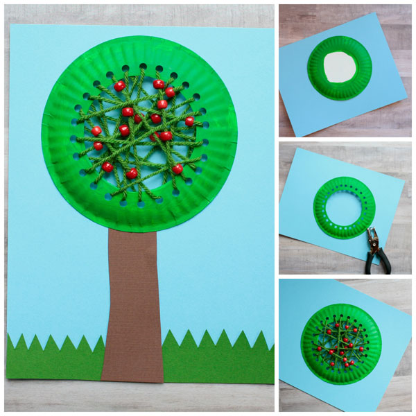 Paper plate apple tree craft for kids