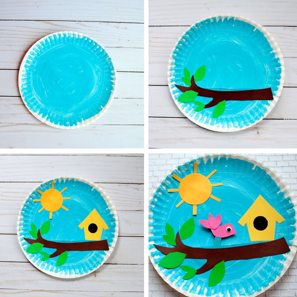 Paper plate birdhouse craft collage