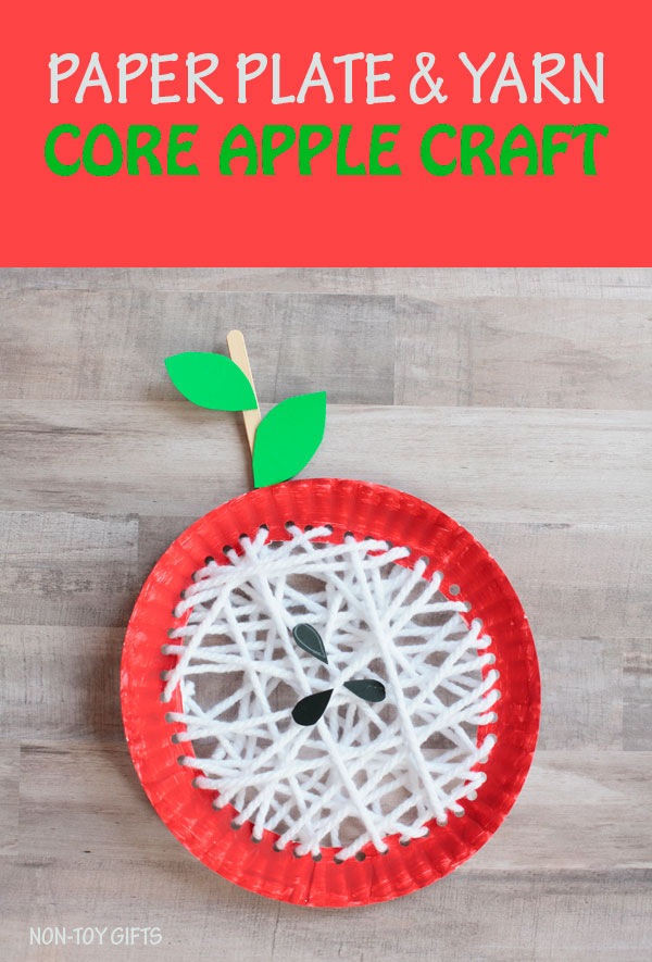 Paper plate core apple craft for kids to try this fall. Easy yarn fall craft. |at Non-Toy Gifts