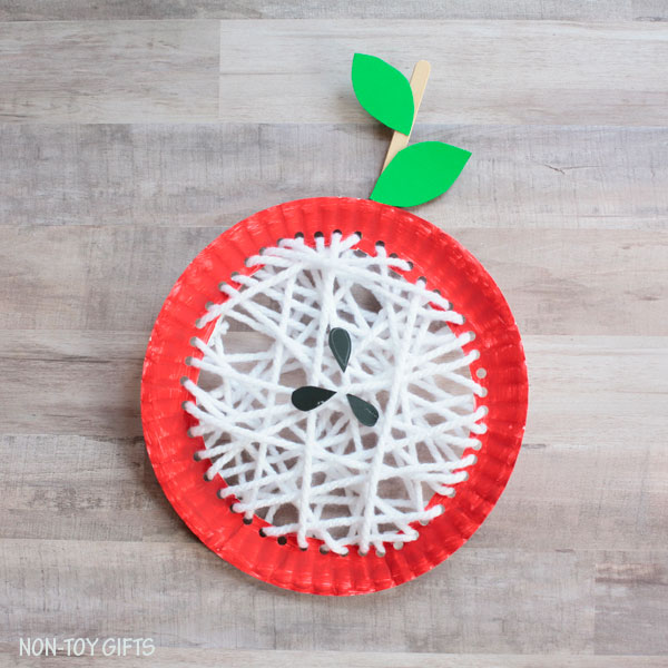Paper plate core apple craft for kids