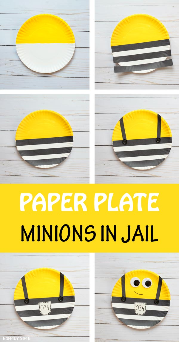 Paper plate Minions in jail craft for kids to make after watching the movie Despicable Me 3. | at Non-Toy Gifts