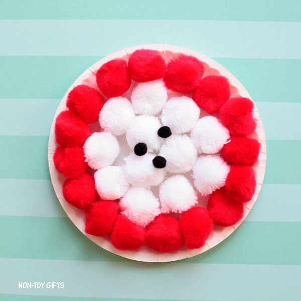 Pom pom core apple craft for kids