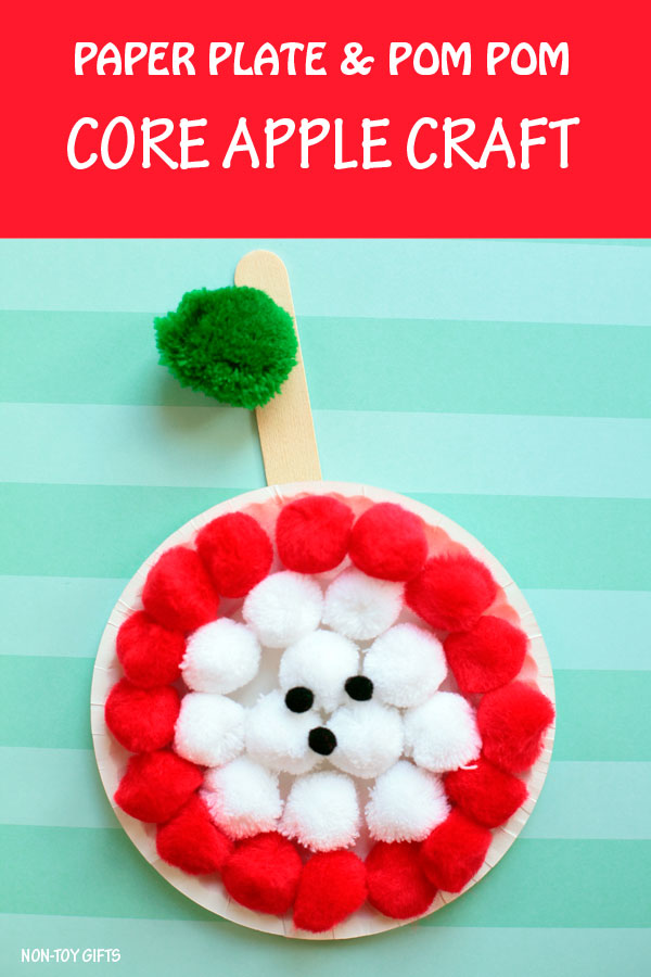 Easy paper plate and pom pom apple core craft for kids. Fun fall craft for preschoolers, kindergartners and older kids to try this autumn. | at Non-Toy Gifts