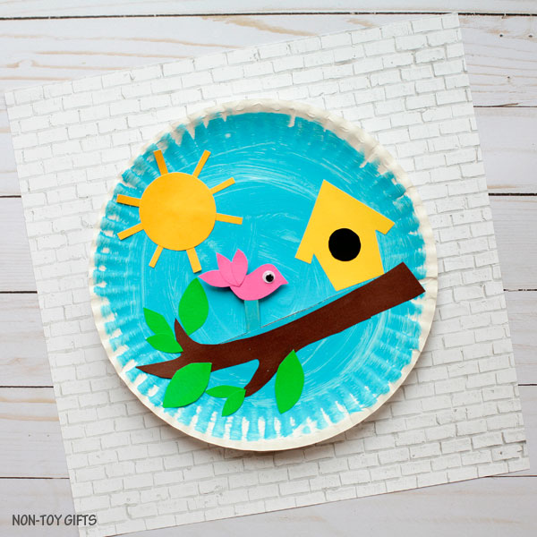 Paper plate birdhouse craft for kids