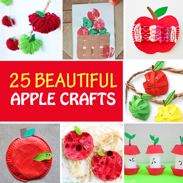 Apple crafts for kids to make this fall: yarn apples, apple stamping art, woven apples, 3D paper apples, paper plate apples, paper roll apple core