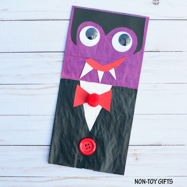 Silly paper bag vampire craft for Halloween.