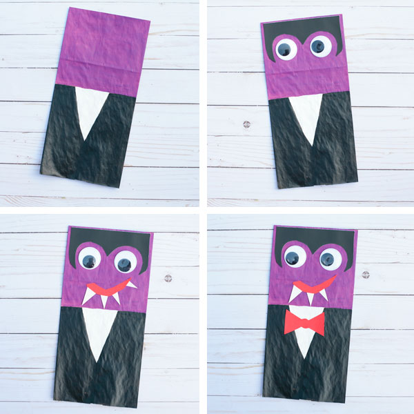 Paper bag vampire craft for kids collage