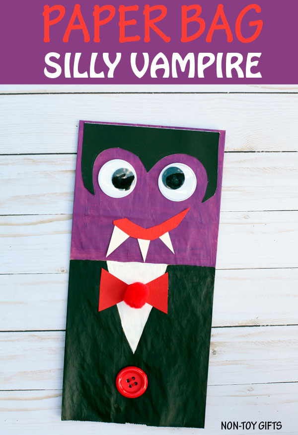 Paper bag vampire craft for kids to make for Halloween. Make a kid-friendly Halloween craft with preschoolers and kindergartners. | at Non-Toy Gifts