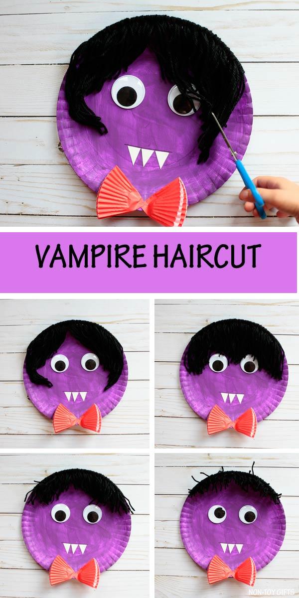 Paper plate vampire - vampire haircut