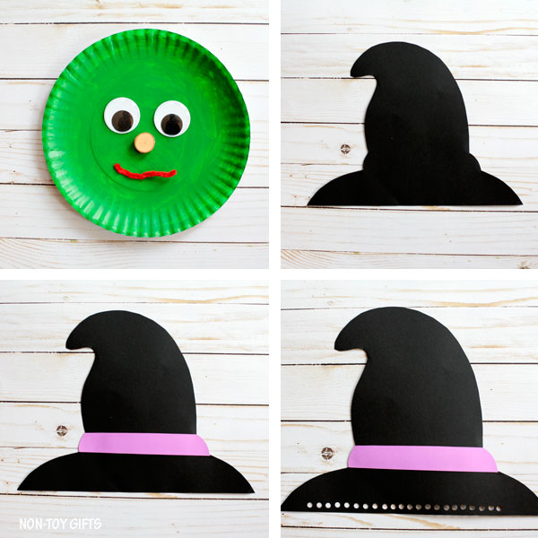 Step 1 Start by painting the paper plate green and let it dry.  sc 1 st  Non-Toy Gifts & Paper plate witch craft for Halloween |