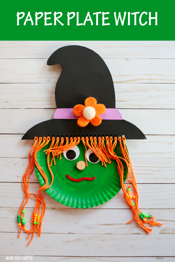 Paper plate witch craft for kids to make on Halloween. Use yarn and beads for her hair. | at Non-Toy Gifts