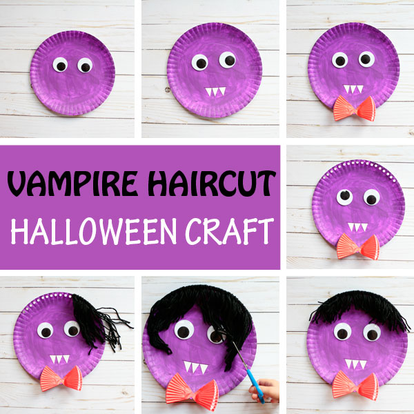 Vampire haircut. Paper plate and yarn Halloween craft for kids.