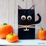 Stuffed paper bag black cat craft