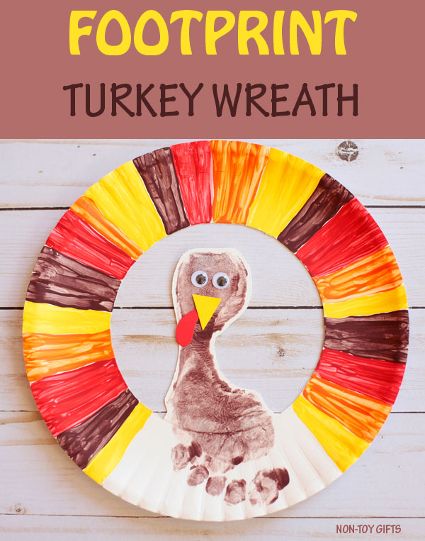 Footprint turkey wreath - easy Thanksgiving craft for kids to make with paper plate.
