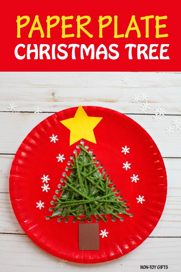 Paper Plate Christmas Tree Made With Yarn A Fun Sewing Craft For Kids To Do