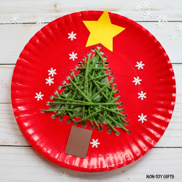 Paper Plate And Yarn Christmas Tree Craft