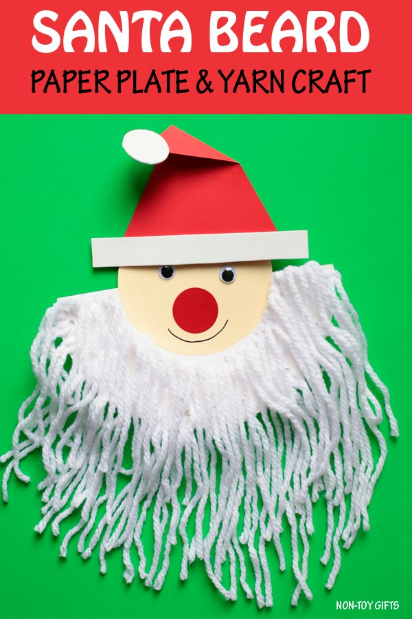 Santa beard craft for kids to make with paper plate and yarn. Easy Christmas craft for kindergartners and older kids. | at Non-Toy Gifts