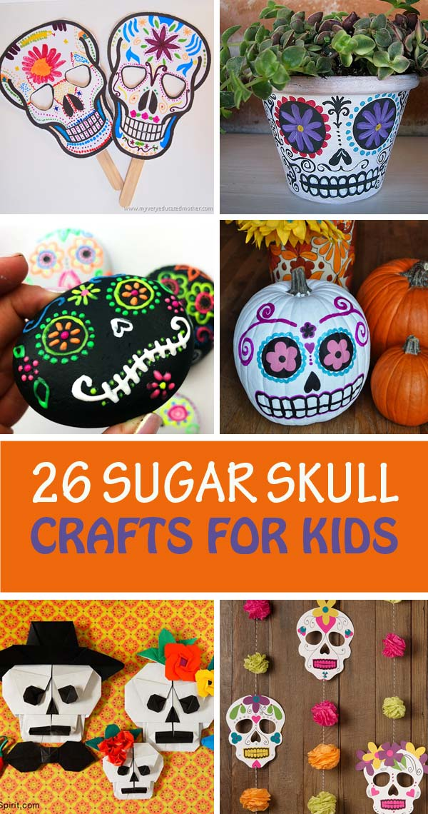 Sugar skull crafts for kids to celebrate the Day of the Dead: masks, pumpkin, bookmarks, garlands, pot, decoration, rocks, balloons and more | at Non-Toy Gifts