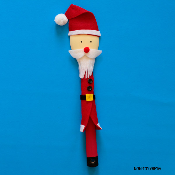 Wooden spoon Santa puppet for kids