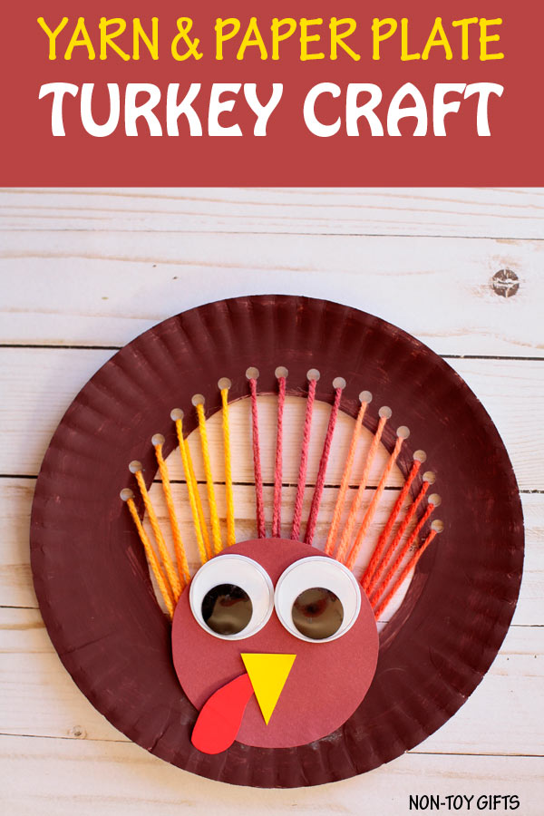 Yarn and paper plate turkey crafts for kids to make for Thanksgiving. | at Non-Toy Gifts