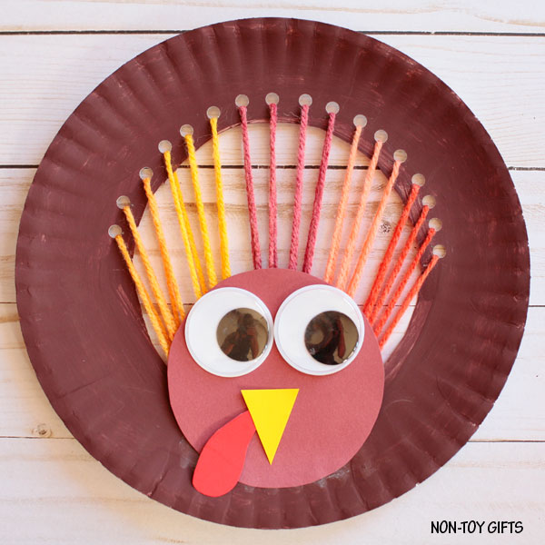 Yarn And Paper Plate Turkey Craft For Kids For Thanksgiving